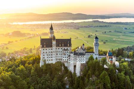 neuschwanstein: Beautiful summer sunset view of the Neuschwanstein castle at Fussen Bavaria, Germany Editorial