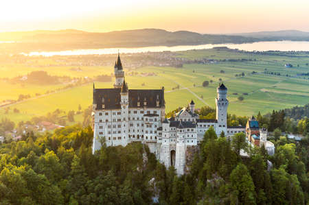 schwangau: Beautiful summer sunset view of the Neuschwanstein castle at Fussen Bavaria, Germany Editorial