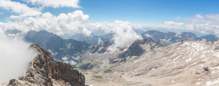 zugspitze mountain: Panorama view of Alpine Alps mountain at Zugspitze top of Germany Stock Photo