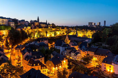 scenic view  of Luxembourg City, downtown at dusk Stock Photo - 44743074