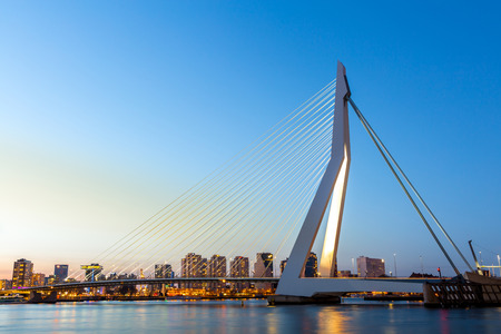 panorama city panorama: Erasmus bridge over the river Meuse in , the Netherlands