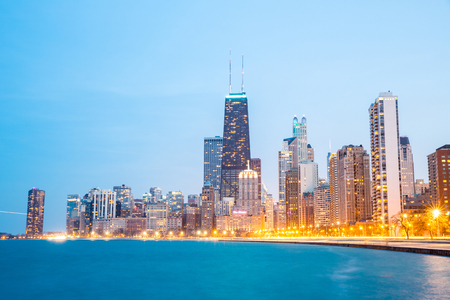 sears: Chicago downtown and Lake Michigan at dusk Stock Photo