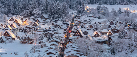 lightup: Shirakawago light-up with Snowfall Gifu Chubu Japan Panorama