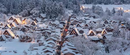 shirakawa go: Shirakawago light-up with Snowfall Gifu Chubu Japan Panorama