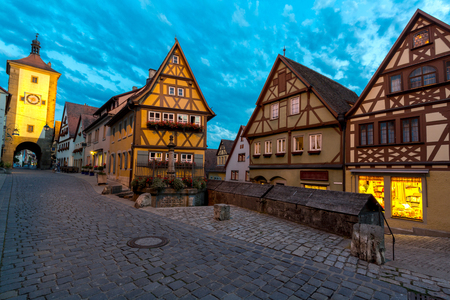 der: Beautiful view of the historic town of Rothenburg ob der Tauber, Franconia, Bavaria, Germany at dusk Stock Photo
