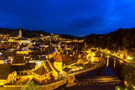 unesco in czech republic: Aerial view of old Town of Cesky Krumlov, Czech Republic at dusk