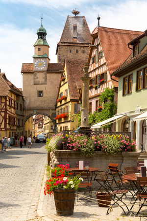 Beautiful view of the historic town of Rothenburg ob der Tauber, Franconia, Bavaria, Germany 版權商用圖片 - 45835430