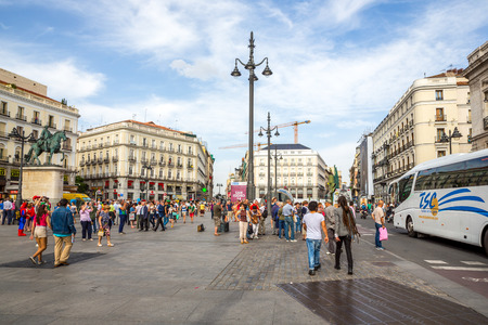 MADRID, SPAIN - JUN 6: Puerta del Sol, Madrid, one of the famous landmarks of the capital and the centre Km0 of the radial network of Spanish roads on June 6, 2014 in Madrid, Spain