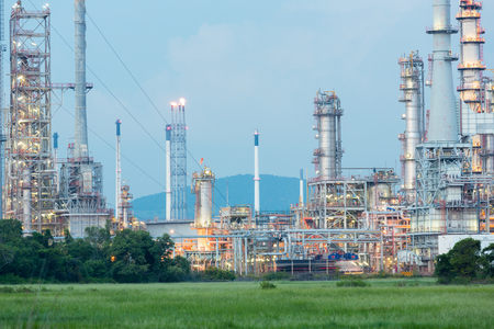gas refinery: Oil Refinery Plant at dusk