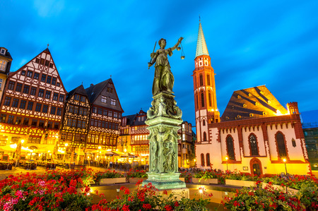 justitia: old town square romerberg with Justitia statue in Frankfurt Germany Editorial