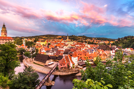 unesco in czech republic: Aerial view of old Town of Cesky Krumlov, Czech Republic Stock Photo
