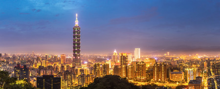 Panorama Taipei skyline Taiwan at dusk. Stock Photo