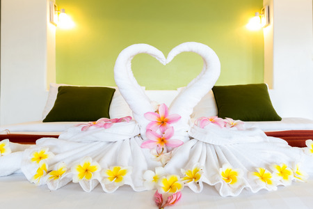 house ware: decorate pair of white towel