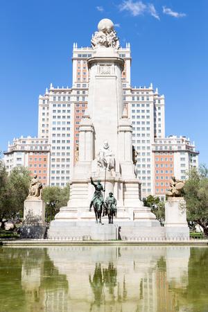 don quixote: Monument to Cervantes, Don Quixote and Sancho Panza at Plaza Espana Madrid Spain
