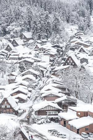 shirakawago: Winter Shirakawago with Snowfall Gifu Chubu Japan Stock Photo