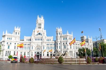 cibeles: Plaza de la Cibeles Cybeles Square - Central Post Office Palacio de Comunicaciones, Madrid, Spain.