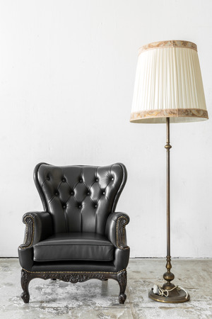 chairs: Black genuine leather classical style chair with lamp