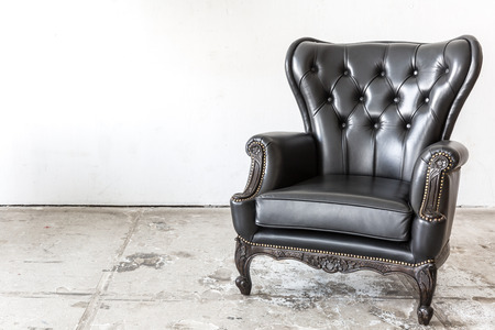 vintage furniture: Black genuine leather classical style chair