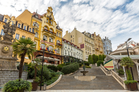 karlovy: Czech Republic - Karlovy Vary downtown Stock Photo