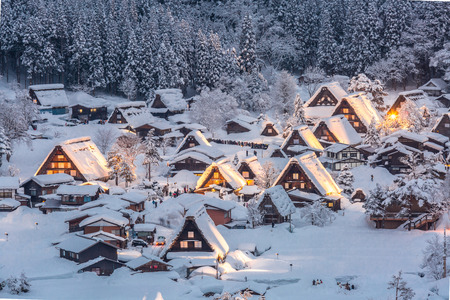 lightup: Shirakawago light-up with Snowfall in Gifu, Chubu, Japan