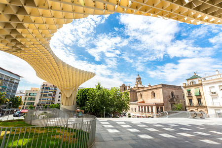 metropol parasol: Seville, Spain, Jun 2014: Metropol Parasol is the modern architecture on Plaza de la Encarnacion on Jun 5, 2014 in Seville, Spain.  It was designed by the German architect Jurgen Mayer-Hermann.