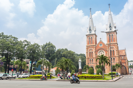 notre dame cathedral: Saigon Notre-Dame Cathedral Basilica on blue sky in Ho Chi Minh city, Vietnam. Stock Photo