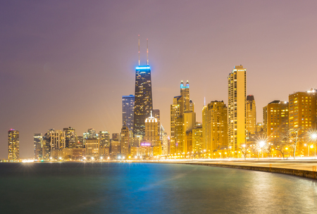 the sears tower: Chicago downtown and Lake Michigan at dusk Stock Photo