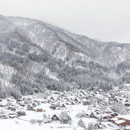 gifu: Winter Shirakawago with Snowfall Gifu Chubu Japan Stock Photo