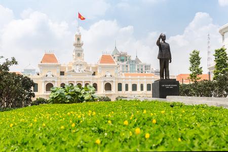 vietnam flag: Ho Chi Minh City Hall Saigon Vietnam.