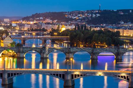 charles bridge: view of Bridges on Vltava, Prague at dusk, Czech Republic