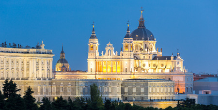 neoclassical: Almudena Cathedral at dusk. Madrid, Spain Stock Photo