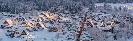 lightup: Shirakawago light-up with Snowfall Gifu Chubu Japan Panorama