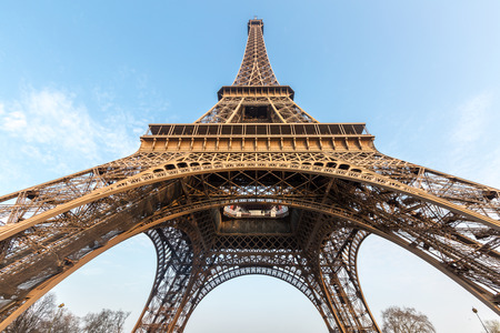 romance sky: Eiffel Tower with blue sky Paris France Stock Photo