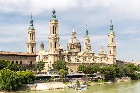 zaragoza: Our Lady of the Pillar Basilica with Ebro River Zaragoza, Spain