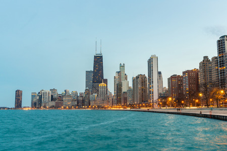 chicago city: Chicago downtown and Lake Michigan at dusk Stock Photo
