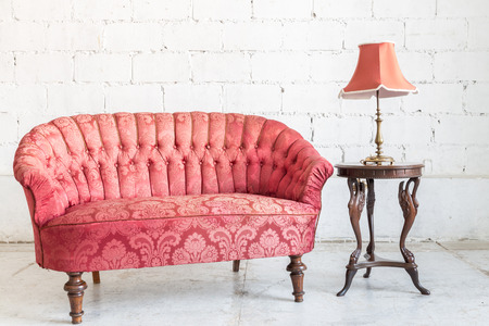 Pink Classical Style Sofa Couch With Lamp In Vintage Room Stock ...