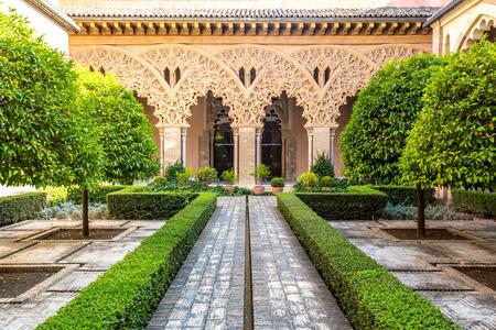 pilasters: moorish garden of aljaferia alcazar of Zaragoza Spain Editorial