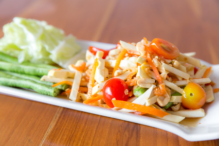 Somtum durian and papaya spicy salad
