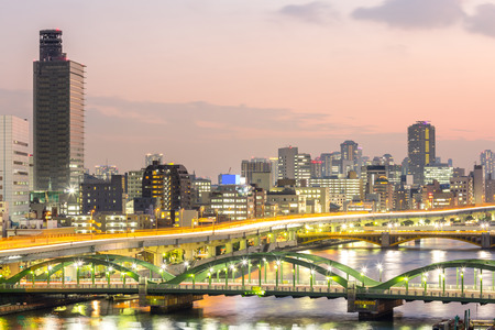 tokyo prefecture: skyline with Highway in Tokyo, Japan at night