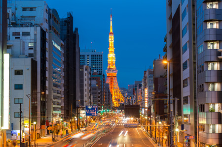 towers: Tokyo Tower at dusk Japan Editorial