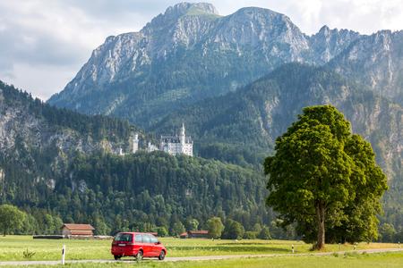 neuschwanstein: Beautiful summer romantic road view of the Neuschwanstein castle at Fussen Bavaria, Germany