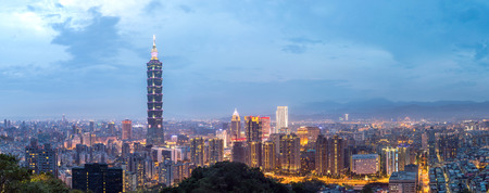 Taipei, Taiwan skylines building at dusk panorama