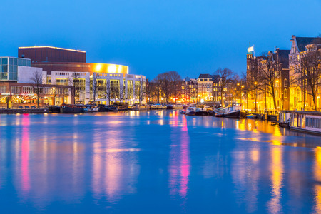 opera house: Opera house in Amsterdam Netherlands at dusk