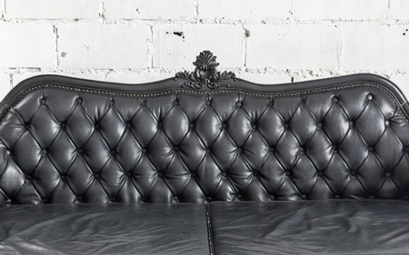 genuine leather: Armchair black genuine leather classical style sofa