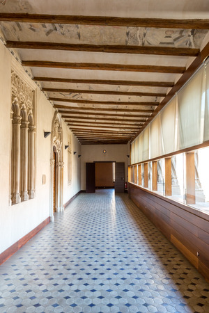 pilasters: Corridor of aljaferia alcazar of Zaragoza Spain