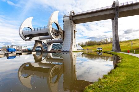 millennium wheel: Reflection of Falkirk Wheel, Scotland UK