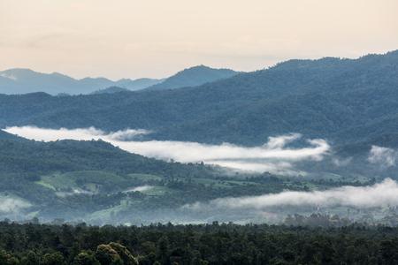 mist: Fog Over Green Mountains Pai Mae Hong Son Thailand Stock Photo