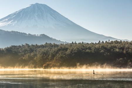 saiko: Mountain Fuji in winter sunrise Lake saiko