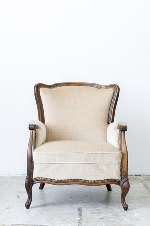 classical style: White Vintage classical farbirc style Chair Stock Photo