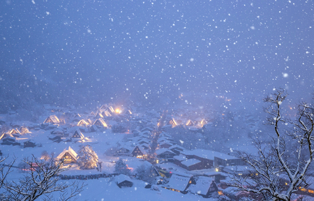 shirakawago: Shirakawago light-up with Snowfall Gifu Chubu Japan with snowfall